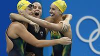 La joie des Australiennes championnes olympiques sur 4x100 m nage libre, aux JO de Rio le 6 août 2016 [Odd ANDERSEN / AFP]