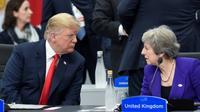 Le président américain Donald Trump et la dirigeante britannique Theresa May lors d'un sommet du G20 à Buenos Aires en novembre 2018 [SAUL LOEB / AFP/Archives]