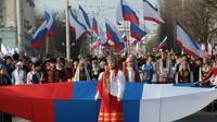 Défilé pour fêter les cinq ans de l'annexion de la Crimée par la Russie à Simféropol le 15 mars 2019 [STR / AFP]