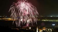 Feu d'artifice au dessus de la baie des Anges à Nice, le 14 juillet 2014 [VALERY HACHE / AFP/Archives]