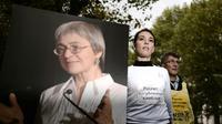 Anna Politkovskaïa, la journaliste russe assassinée, devenue un symbole de la lutte pour la liberté de la presse, le 6 octobre 2008 à Paris [OLIVIER LABAN-MATTEI / AFP/Archives]