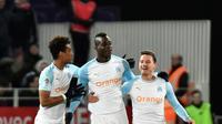 L'attaquant de Marseille Mario Balotelli (c) buteur lors de la victoire 2-1 à Dijon le 8 février 2019 [JEFF PACHOUD / AFP]