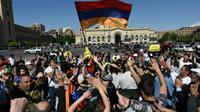 Manifestation d'opposants à Erevan, le 25 avril 2018 en Arménie [Vano SHLAMOV / AFP]