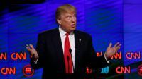 Donald Trump, candidat à la primaire républicaine, lors d'un débat télévisé diffusé sur CCN le 10 mars 2016 à Miami [RHONA WISE                       / AFP]