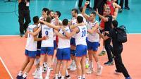 Les Serbes battent les Français 3-2 en demi finale de l'Euro de volley le 27 septembre 2019 [MARTIN BUREAU / AFP]