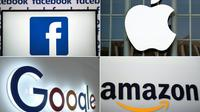 Si les entreprises visées par l'enquête lancée mardi par les autorités américaines ne sont pas nommées, celle-ci semble cibler les sociétés comme Google, Facebook, Amazon, et peut-être aussi Apple [LOIC VENANCE, Josh Edelson, STR, Emmanuel DUNAND / AFP/Archives]