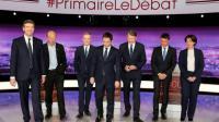 Les 7 candidats à la primaire organisée par le PS, le 15 janvier 2017 à Paris [PHILIPPE WOJAZER / POOL/AFP]