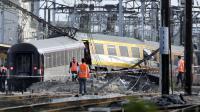 Wagons enchevétrés après de déraillage du Paris-Limoges le 14 juillet 2014 en gare de Brétigny-sur-Orge [Kenzo Tribouillard / AFP/Archives]