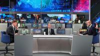 """Le président russe Vladimir Poutine lors de son intervention télévisée, """"Ligne directe"""", le 7 juin 2018  [Mikhail KLIMENTYEV / SPUTNIK/AFP]"""