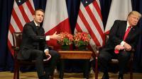 Les présidents français Emmanuel Macron (g) et américain Donald Trump, le 18 septembre 2017 à New York [ludovic MARIN / AFP]