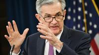 Le président de la Banque centrale américaine, Jerome Powell, le 1er mai 2019 lors d'une conférence de presse à Washington [MANDEL NGAN / AFP/Archives]