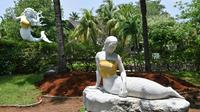 The bare chests of two mermaid statues have been covered up at an Indonesian theme park  [ADEK BERRY / AFP]