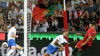 Le Portugais André Silva inscrit le seul but du match de Ligue des nations contre l'Italie, le 10 septembre 2018 à Lisbonne [Francisco LEONG / AFP]