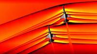 Photo diffusée par la NASA le 5 mars 2019 montrant deux appareils T-38 volant en formation à une vitesse supersonique [HO / NASA/AFP]