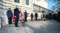 Le président polonais Andrzej Duda s'exprime lors d'une cérémonie marquant le 50è anniversaire de la révolte étudiante à l'université de Varsovie le 8 mars 2018 [Andrzej IWANCZUK / REPORTER/AFP]