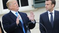 Donald Trump et Emmanuel Macron lors de l'arrivée du président français à Mount Vernon, le 23 avril 2018 [Ludovic MARIN / AFP]