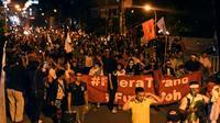 Des supporters du candidat de l'opposition à la présidentielle Salvador Nasralla manifestent à Tegucigalpa, le 8 décembre 2017 au Honduras [ORLANDO SIERRA / AFP]