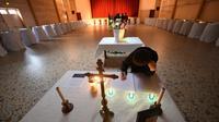 La chapelle ardente installée le 24 octobre 2015 à Puisseguin dans le foyer municipal au coeur du village [MEHDI FEDOUACH / AFP/Archives]