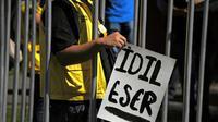 Des membres d'Amnesty International manifestent devant l'ambassade de Turquie au Mexique pour la libération d'Idil Eser, directrice d'Amnesty International en Turquie, le 31 juillet 2017 à Mexico [Bernardo Montoya / AFP/Archives]