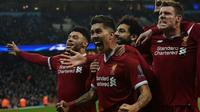 Le milieu de terrain brésilien de Liverpool Roberto Firmino  inscrit le but de la qualification en demi-finales de Ligue des champions face à Manchester City le 10 avril 2018 [PAUL ELLIS                        / AFP]