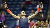L'Espagnol Rafael Nadal savoure sa victoire face à l'Autrichien Dominic Thiem en quarts de finale de l'US Open, le 5 septembre 2018 à New York [EDUARDO MUNOZ ALVAREZ / AFP/Archives]
