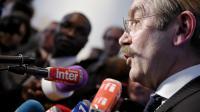 Frédéric Thiriez, le président de la Ligue, s'adressant aux journalistes le 4 avril 2014 à Paris [Franck Fife / AFP/Archives]