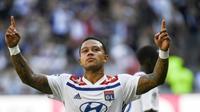 L'attaquant de Lyon Memphis Depay buteur contre Amiens, en L1, à Décines-Charpieu, le 12 août 2018  [PHILIPPE DESMAZES / AFP/Archives]