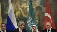 Les ministres de Affaires étrangères russe, américain, saoudien et turc, à Vienne, le 29 octobre 2015  [BRENDAN SMIALOWSKI / POOL/AFP]