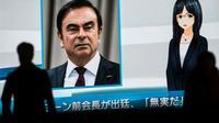 La télévision japonaise diffuse des informations sur Carlos Ghosn sur un écran géant, le 8 janvier 2019 à Tokyo [Behrouz MEHRI / AFP/Archives]