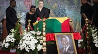 Nane Maria, la veuve de Kofi Annan, lors de la cérémonie de funérailles nationales de l'ancien secrétaire général des Nations unies, le 12 septembre 2018 à Accra, au Ghana. [Ruth McDowall / AFP]