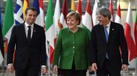 Le président français Emmanuel Macron, la chancelière allemande Angela Merkel et le Premier ministre italien Paolo Gentiloni arrivent au sommet informel des 27, le 23 février 2018 à Bruxelles [ARIS OIKONOMOU / AFP]