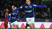 L'attaquant de Strasbourg Ludovic Ajorque vient de marquer contre Bordeaux en demi-finale de la Coupe de la Ligue, le 30 janvier 2019 à Strasbourg  [PATRICK HERTZOG / AFP]