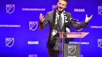 La superstar David Beckham s'exprime devant les reporters au sujet du prochain lancement de sa franchise MLS à Miami, le 29 janvier 2018  [Eric Espada / Getty/AFP]