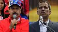 Combinaison de photos montrant Nicolas Maduro et Juan Guaido s'adressant à leurs partisans respectifs le 2 février 2019 [Yuri CORTEZ, Juan BARRETO / AFP]