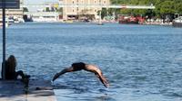 Un homme plonge dans les eaux du Bassin de la Villette à Paris le 26 mai 2017 [GEOFFROY VAN DER HASSELT / AFP/Archives]