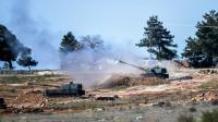 Des chars de l'armée turque en action aux abords de la ville de Kilis frontalière avec la Syrie, le 16 février 2016 [BULENT KILIC / AFP/Archives]
