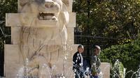 Le Lion al-Lât, une ancienne statue du temple de la ville syrienne de Palmyre, à l'entrée du musée national de Damas, le 28 octobre 2018 [LOUAI BESHARA / AFP]