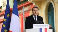 Le président Emmanuel Macron prononce un discours lors de l'hommage au préfet Claude Erignac le 6 février 2018 à Ajaccio [LUDOVIC MARIN / POOL/AFP]