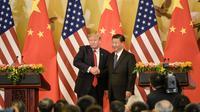Les présidents américain Donald Trump et chinois Xi Jinping, à Pékin le 9 novembre 2017 [Fred DUFOUR / AFP/Archives]