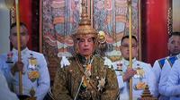 Capture d'image de la télévision thaïlandaise, le 4 mai 2019, montrant le roi Maha Vajiralongkorn lors des cérémonies pour son couronnement à Bangkok [Thai TV Pool / THAI TV POOL/AFP]