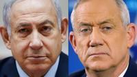 Montage photo du Premier ministre israélien Benjamin Netanyahu (à gauche, à Jérusalem le 9 décembre 2018) et de son adversaire Benny Gantz, ancien chef de l'armée (à droite, le 1er avril 2019 à Tel Aviv) [Oded Balilty, JACK GUEZ / AFP/Archives]