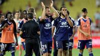 Les Lyonnais lors de leur victoire à Monaco 3-0 lors de l'ouverture du championnat de L1 le 9 août 2019 [VALERY HACHE / AFP]