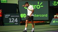 Le Suisse Roger Federer face à l'Australien  Thanasi Kokkinakis au 2e tour du tournoi de Miami, le 24 mars 2016 [CLIVE BRUNSKILL / Getty/AFP]