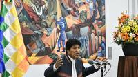 Le président bolivien Evo Morales en conférence de presse à La Paz, le 24 octobre 2019 [AIZAR RALDES / AFP]