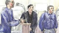 Croquis d'audience montrant Samuel Dufour (G), Esteban Morillo (C) et Alexandre Eyraud (D) lors de leur procès à Paris le 4 septembre 2018 [Benoit PEYRUCQ / AFP/Archives]