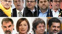 Les dirigeants indépendantistes jugés par la Cour suprême espagnole. De gauche à droite et et haut en bas:  Raul Romeva, Joaquim Forn, Jordi Turull, Oriol Junqueras, Josep Rull, Jordi Cuixart, Carme Forcadell, Dolors Bassa et Jordi Sanchez [GABRIEL BOUYS                     , LLUIS GENE, PAU BARRENA / AFP/Archives]