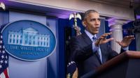 Barack Obama lors d'une conférence de presse à la Maison Blanche, à Washington le 16 décembre 2016 [ZACH GIBSON / AFP]