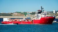 Le bateau affrété par SOS Méditerranée et Médecins sans Frontières, l'Ocean Viking, dans le  port de Marseille le 29 juillet 2019 [CLEMENT MAHOUDEAU / AFP]