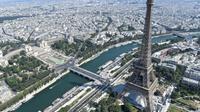 Vue aérienne de la tour Eiffel, le 14 juillet 2018 à Paris [GERARD JULIEN / AFP/Archives]