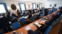 Des participants à la conférence épiscopale allemande, le 24 septembre 2018 à Fulda [Arne Dedert / dpa/AFP]